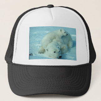 Polar bear cub and mom - 2 trucker hat