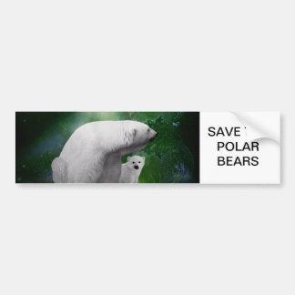 Polar Bear, cub and Northern Lights aurora Bumper Stickers
