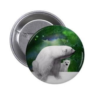 Polar Bear, cub and Northern Lights aurora Button