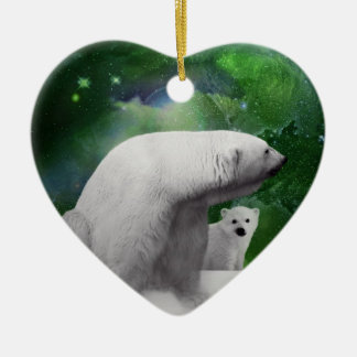 Polar Bear, cub and Northern Lights aurora Ceramic Ornament