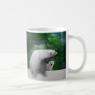 Polar Bear, cub and Northern Lights aurora Coffee Mug