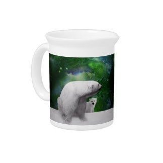 Polar Bear, cub and Northern Lights aurora Drink Pitcher