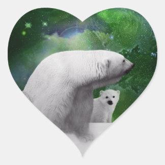 Polar Bear, cub and Northern Lights aurora Heart Sticker