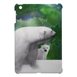 Polar Bear, cub and Northern Lights aurora iPad Mini Cover