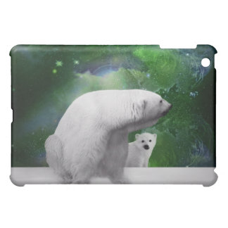 Polar Bear, cub and Northern Lights aurora iPad Mini Covers