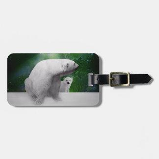 Polar Bear cub and Northern Lights aurora Luggage Tag