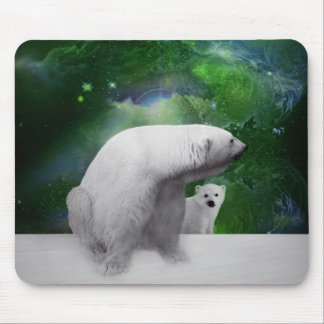 Polar Bear, cub and Northern Lights aurora Mouse Pad