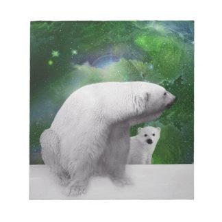 Polar Bear, cub and Northern Lights aurora Notepad