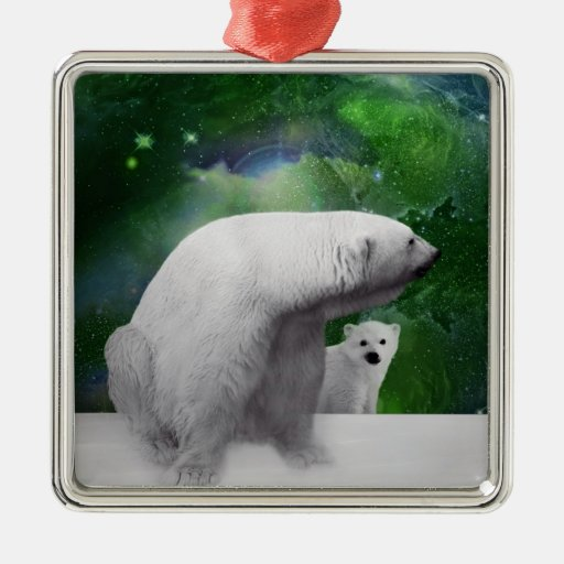 Polar Bear, cub and Northern Lights aurora Christmas Ornaments