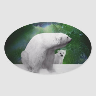 Polar Bear, cub and Northern Lights aurora Oval Sticker