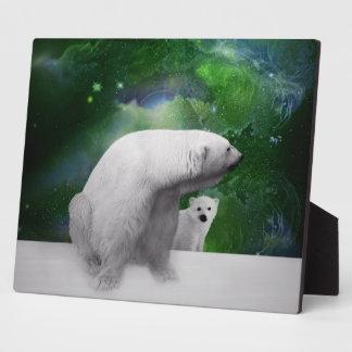 Polar Bear, cub and Northern Lights aurora Plaque