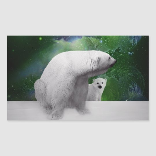 Polar Bear, cub and Northern Lights aurora Rectangular Sticker