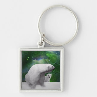 Polar Bear, cub and Northern Lights aurora Silver-Colored Square Keychain