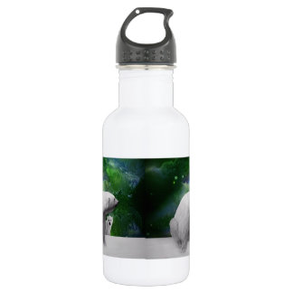 Polar Bear, cub and Northern Lights aurora Stainless Steel Water Bottle