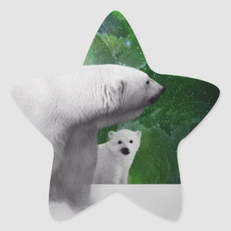 Polar Bear, cub and Northern Lights aurora Star Sticker
