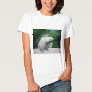 Polar Bear, cub and Northern Lights aurora T-shirt
