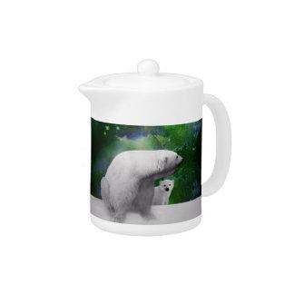 Polar Bear, cub and Northern Lights aurora Teapot