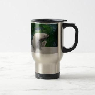 Polar Bear, cub and Northern Lights aurora Travel Mug