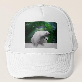 Polar Bear, cub and Northern Lights aurora Trucker Hat