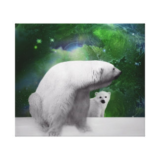 Polar Bear, cub and northern lights Canvas Print