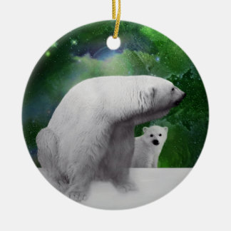 Polar Bear, cub and northern lights christmas tree Ceramic Ornament