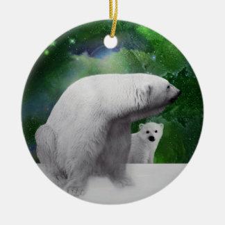 Polar Bear, cub and northern lights christmas tree Christmas Ornaments