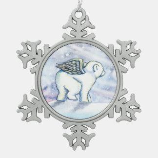 Polar Bear Cub Angel Fantasy Art Snowflake Pewter Christmas Ornament