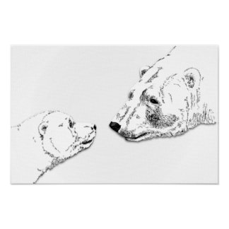 Polar Bear & Cub Art Print Wildlife Poster