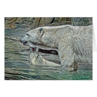 Polar Bear Cub Bad Baby with Mom Card