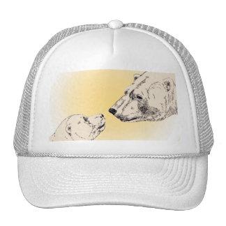 Polar Bear & Cub Caps Wildlife Bear Art Caps Trucker Hat