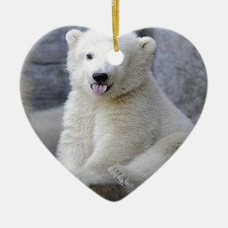 Polar Bear Cub Ceramic Ornament