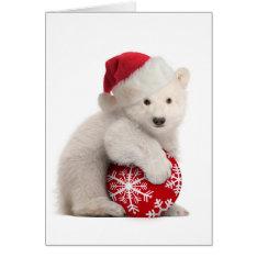 Polar Bear Cub Christmas Card at Zazzle