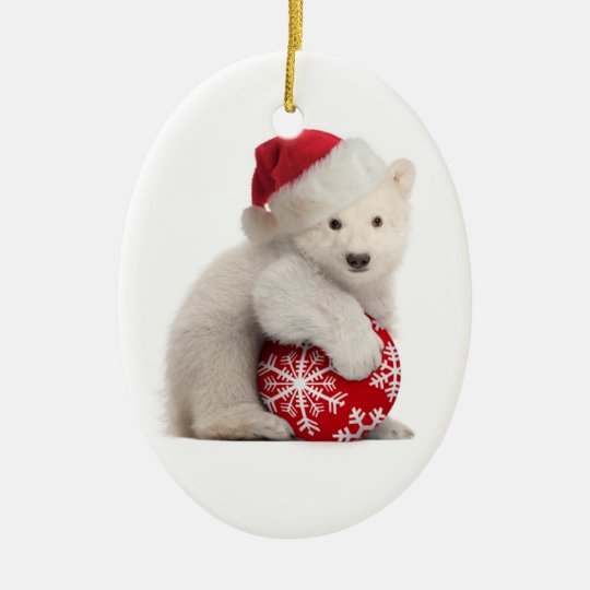 polar bear cub christmas ornament