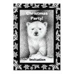 "Polar Bear Cub Christmas Party Invitation 3.5"" X 5"" Invitation Card"