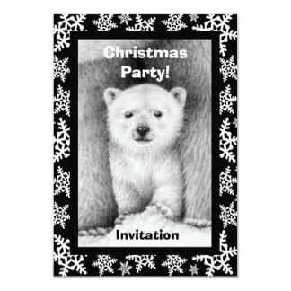 Polar Bear Cub Christmas Party Invitation