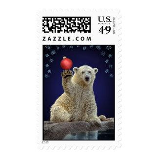 Polar Bear Cub Holiday Christmas Stamp