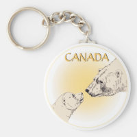 Polar Bear & Cub Keychain Wildlife Art Canada Gift