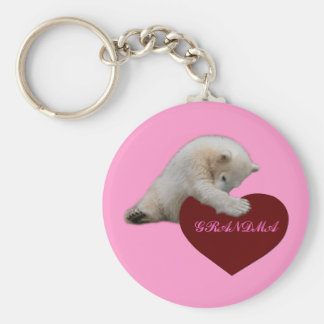 Polar Bear Cub Loves GRANDMA Basic Round Button Keychain