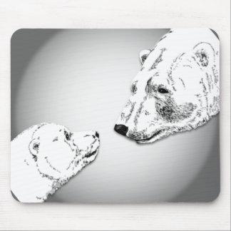 Polar Bear & Cub Mousepad Bear Art Mousepad