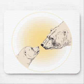 Polar Bear & Cub Mousepad Wildlife Art Mousepad