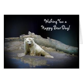 Polar Bear Cub on Ice & Aurora Birthday Card