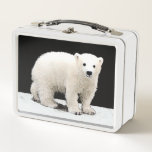 """Polar Bear Cub Painting - Original Wildlife Art Metal Lunch Box<br><div class=""""desc"""">Polar Bear Cub portrait, original painting. We specialize in cute and funny original art. Buy this for yourself or as a great gift for your Polar Bear loving friends. Be creative - click on CUSTOMIZE to add/remove/change text, resize the picture, change colors or anything else the customization tool will allow!...</div>"""