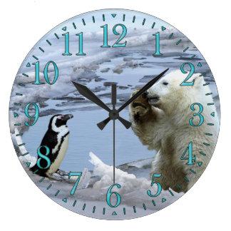 Polar Bear Cub & Penguin Best Friends Wall Clock