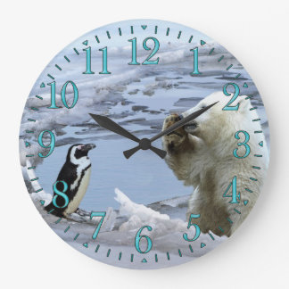 Polar Bear Cub & Penguin Best Friends Wall Clock