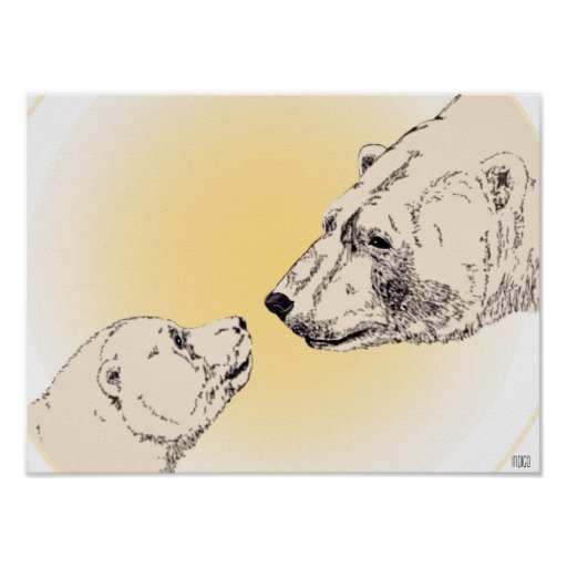 Polar bear cub poster wildlife home decor zazzle for Bear decorations for home