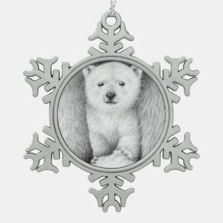 Polar Bear Cub Snowflake Pewter Christmas Ornament
