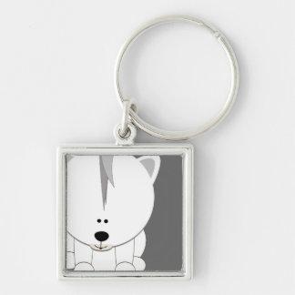 Polar Bear Cub Square Keychain