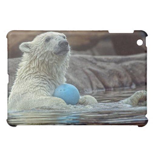 Polar Bear Cub with Favorite Ball Hard Shell iPad Mini Cases