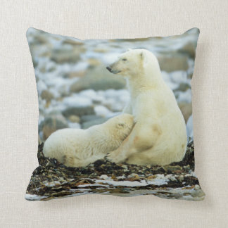 Polar Bear Cub With Mother Throw Pillow