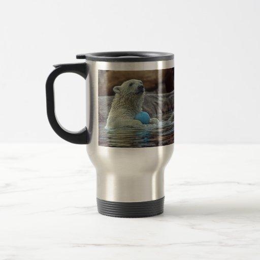 Polar Bear Cub with Toy Travel Mug